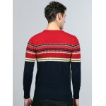 cheap Tribal Pattern Crew Neck Pullover Sweater