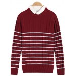 Striped Twist Knit Crew Neck Sweater for sale