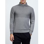 Buy Turtleneck Ribbed Pullover Sweater 2XL LIGHT GRAY