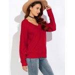 cheap Ribbed V Neck Pullover Sweater
