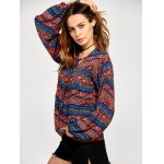 Lace Up Ethnic Print Peasant Blouse deal