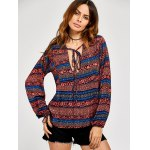 cheap Lace Up Ethnic Print Peasant Blouse