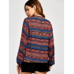 Lace Up Ethnic Print Peasant Blouse for sale