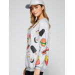 All Over Food Printed Funny Long Sweatshirt deal