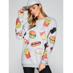 cheap All Over Food Printed Funny Long Sweatshirt