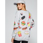 All Over Food Printed Funny Long Sweatshirt for sale
