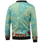 cheap Stand Collar 3D Father Christmas and Snowflake Print Padded Jacket