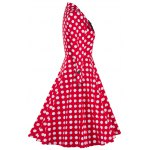 cheap Bowknot Polka Dot Insert Swing Dress