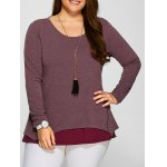 Plus Size Zipper Embellished Layered Pullover