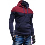 cheap Kangaroo Pocket Color Block Hoodie