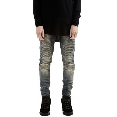 Slim Fit Zipper Fly Distressed Biker Jeans