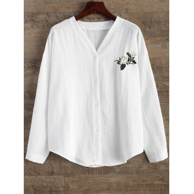 Floral Embroidered Linen Loose Shirt