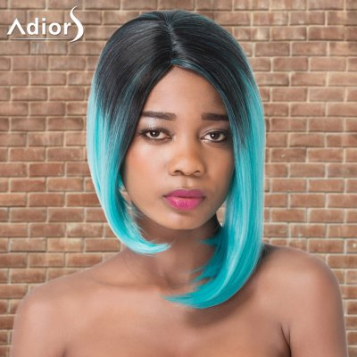 Adiors Short Asymmetry Ombre Side Parting Straight Tail Adduction Cosplay Synthetic Wig