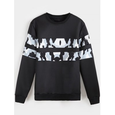 Camo Panel Flocking Sweatshirt