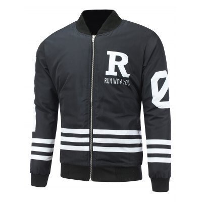 Striped Zip Up Graphic Padded Jacket