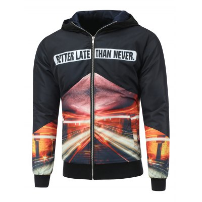 Hooded Graphic Padded Jacket