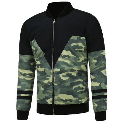 Camo Graphic Zip Up Padded Jacket