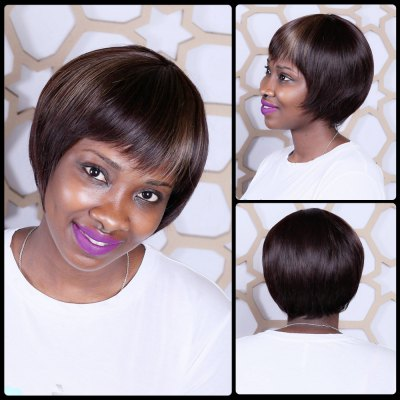 Short Mixed Color Neat Bang Straight Synthetic Wig
