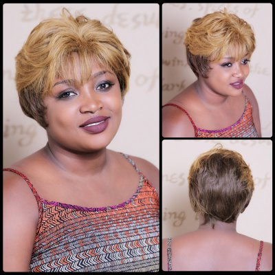 Short Multi Color Fluffy Full Bang Straight Synthetic Wig