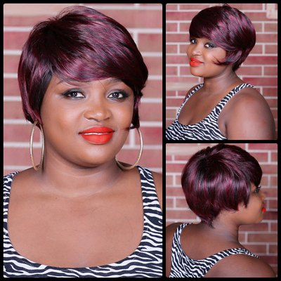 Short Double Color Full Bang Spiffy Straight Synthetic Wig