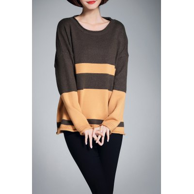 Scoop Neck Knit Color Block Sweater
