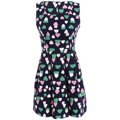 Colourful Heart Fit and Flare Dress