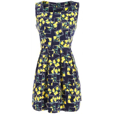 Lemon Printed Fit and Flare Dress