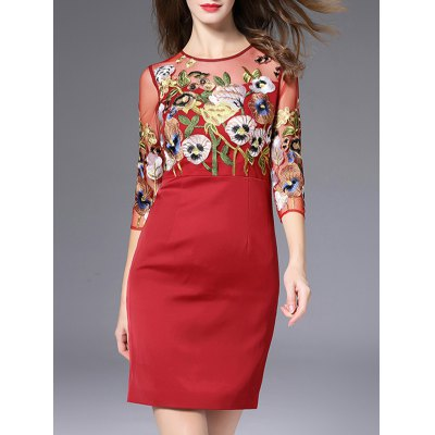 Semi Sheer Flower Embroidered Pencil Dress