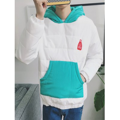 Kangaroo Pocket Color Block Quilted Pullover Hoodie