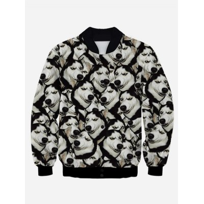Print Stand Collar Snap Front Jacket