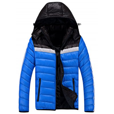 Zip Up Color Block Striped Hooded Quilted Jacket