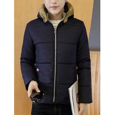 Zip Up Wool Hooded Quilted Jacket