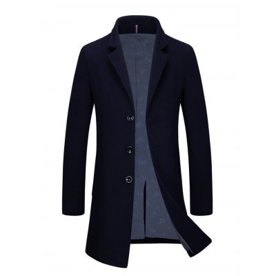 Single Breasted Lapel Wool Blend Coat