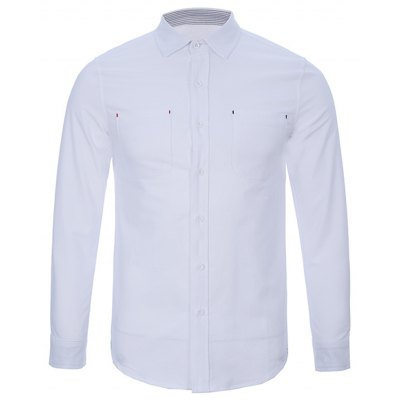 Back Pleat Chest Pocket Button Up Shirt