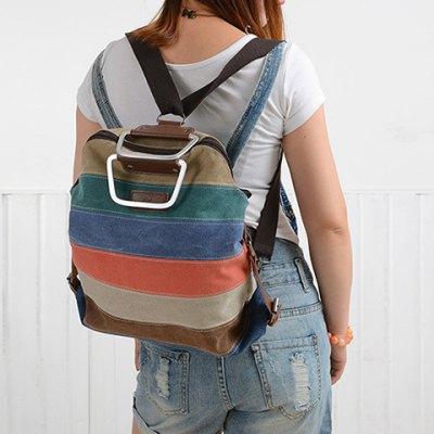 Color Block Metal Handle Canvas BackpackWomens Bags<br>Color Block Metal Handle Canvas Backpack<br><br>Handbag Type: Backpack<br>Style: Casual<br>Gender: For Women<br>Pattern Type: Others<br>Handbag Size: Medium(30-50cm)<br>Closure Type: Zipper<br>Interior: Interior Zipper Pocket<br>Occasion: Versatile<br>Main Material: Canvas<br>Weight: 1.200kg<br>Size(CM)(L*W*H): 36*9*40<br>Package Contents: 1 x Backapck