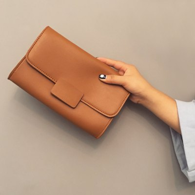 Magnetic Closure Stitching PU Leather Clucth Bag