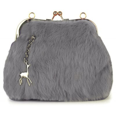 Faux Fur Panel Kiss Lock Evening Bag