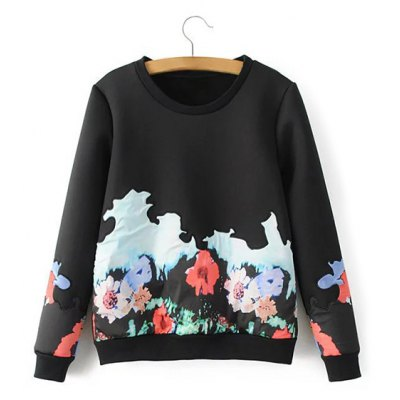 Flower Applique Pullover Sweater