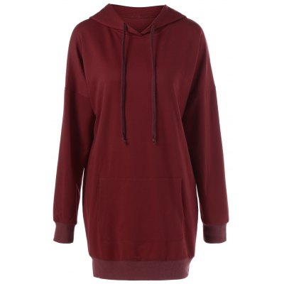 Drop Shoulder Long Hoodie