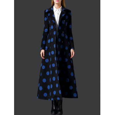 Polka Dot Wool Skirted Maxi Coat