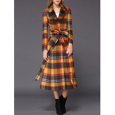 Wool Checked Long Skirted Coat