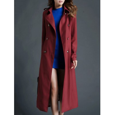 Double Breasted Fitted Longline Trench Coat