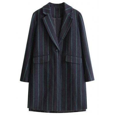 Vertical Stripe One Button Wool Coat