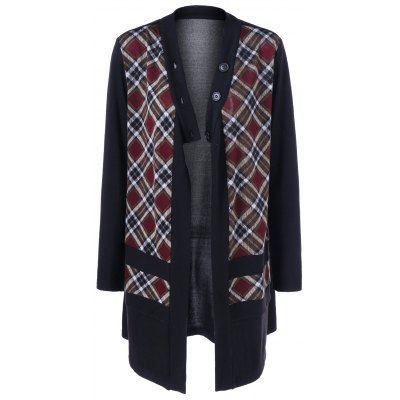 Plaid Trim Button Fly Coat