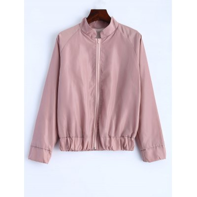 Letter Print Stand Collar Jacket