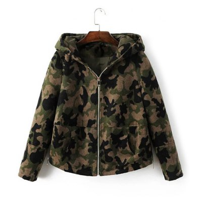 Camouflage Hooded Woolen Jacket