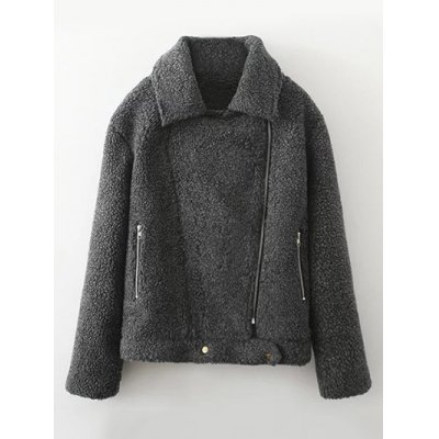 Asymmetric Zipper Berber Fleece Jacket