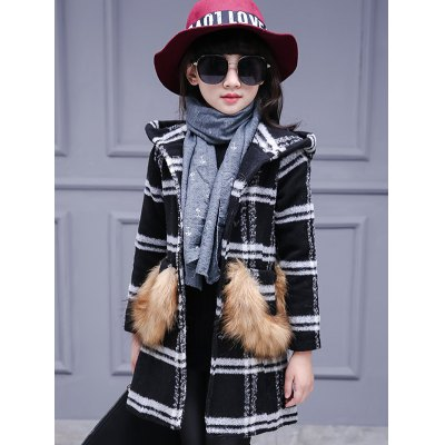 Faux Fur Single-Breasted Plaid Woolen Coat