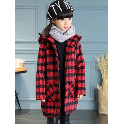 Hooded Plaid Long Wool Coat
