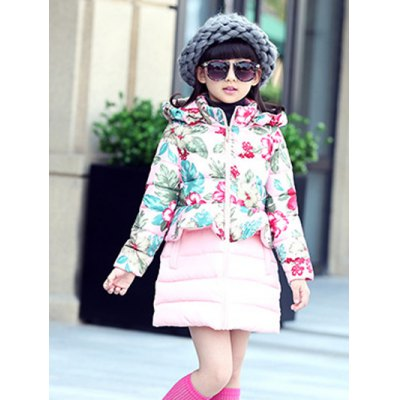Hooded Floral Print Puffer Coat